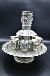 Vintage Wine Fountain 1 Kiddush Cup And 8 Goblets Silver Plate Judaica Israel