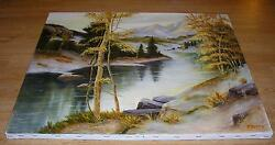 NATURE FOREST PINE TREES BIRCH GREEN STREAM RIVER LANDSCAPE MOUNTAINS PAINTING