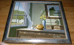 YELLOW ROSES TEA POT CUP WHITE CURTAINS GARDEN HOUSE TREES FRAMED OIL PAINTING