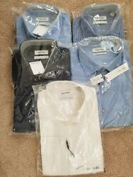 5pcs Lot Of Calvin Klein Dress Shirts With French Cuffs 100 Cotton New With Tag