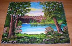 VINTAGE MORNING SUNSET POND LAKE TREES NATURE MOUNTAIN PINK REFLECTIONS PAINTING