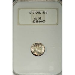 1910 Canada Silver 5 Cents Round Leaves/bow Tie -ngc Au 55 Scarce -d184dutsc2