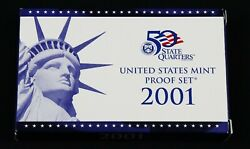 2001 Us Mint Uncirculated Coin Proof Set W/box, Coa, Coin Specs - Free Shipping