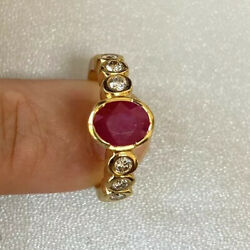 New Gorgeous Oval Ruby Center Stone And Diamond 1.96 Ct Tw 18k Yellow Gold Ring