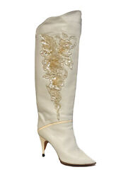 Womenand039s Knee High Boots Size 37 White Caporicci By Marmolada 19.5 Inch High