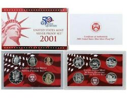 2001-s Proof Set Original Box And Coa 10 Coins 90 Silver Quarters Kennedy Us Mint