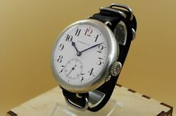 Rarest One Of The First Hy Moserandcie Watch Co Enamel Dial Big Military Wwi Orign