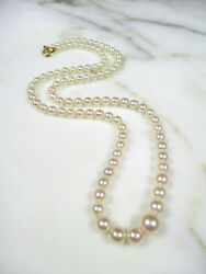 High Quality 17 3/4 Cultured Japanese Akoya Small Pearl Necklace 18k Gold Clasp