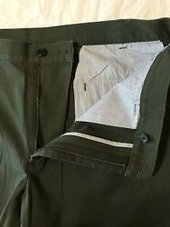 Brooks Brothers 346 38 X 32 Green 100 Cotton Flat Front Chinos