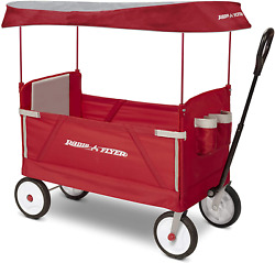 Radio Flyer 3-in-1 Ez Folding Wagon With Canopy For Kids And Cargo, Red