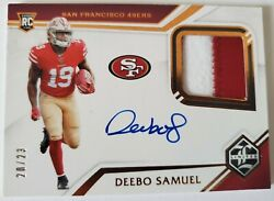 Deebo Samuel 2019 Limited Rc Patch On Card Auto 20/23 First Off The Line Rpa