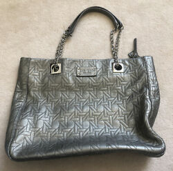 Kate Spade Quilted Leather Large Shoulder Bag With Chain Straps Silver Pre-owned