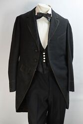 Civil War Era Men's Three Piece Charcoal Black Suit And White Shirt And Suspenders