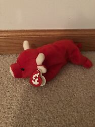 Ty Beanie Baby Style 4002 Snort 1995 Red Bull With P.v.c. Pellets With Errors