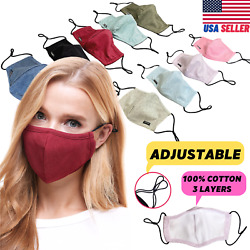Adjustable Face Mask Cotton Triple Layer Reusable Washable USA SAMEDAY SHIPPING $7.99