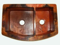 Rounded Apron Front Farmhouse Kitchen Double Bowl Mexican Copper Sink 60/40 27