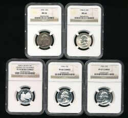 5 Silver Washington Quarters All Certified Ngc        Y