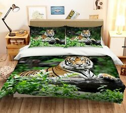 3d Forest Trunk Tiger Animal Kep9251 Bed Pillowcases Quilt Duvet Cover Kay