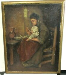 J.t.b. Mother Feeding Child Small Original Oil On Canvas Painting Dated 1914