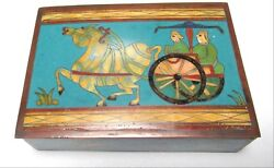 Rare Old 19th Century Chinese Cloisonne Enamel Chariot Hunting Scene Humidor Box