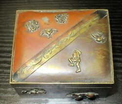 Rare Old Bronze And Copper Japanese Mixed Metal Trinket Snuff Jar Box