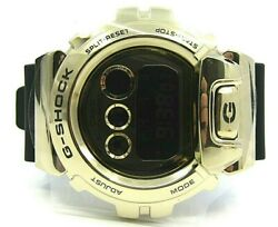 Authentic Gshock Digital Watch Black Resin Strap Large Gold Face Retail 299