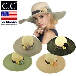 C.C Women Floppy Sun Beach Straw Hats Wide Brim Packable Summer Cap Wide Brim 5quot; $14.99
