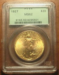 Superb 1927 Gold 20 Saint Gaudens Double Eagle Coin Pcgs Ms62 Old Green Holder