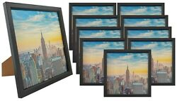 Frame Amo 8x8 Black Wood Picture Frame Glass Front Wall Or Table 1 3 10 Pack