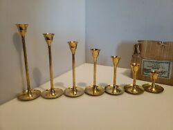 Leonard Brass 7pc. Candle Stand Set Style #4377 Made In India Stepping Graduated