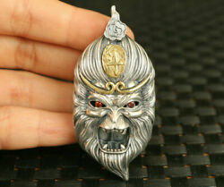 33g S925 Silver Monkey Pendant Netsuke Collectable Necklace Fine Gift