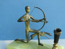 Austrian Bronze Art Deco Diana The Archer And Leaping Dog Desk Pen Holder On Onyx