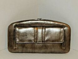 Metallic Pewter Clutch Wallet by Rosetti Black Fabric Interior NWT $36 $13.90