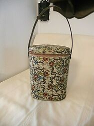 Vintage Pink Brown Floral Needle Point Collectible Vinyl Brunch Bag With Thermos