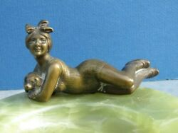 Austrian Bronze Sunbather With Dog Sculpture On Onyx Base For Coins, Pins, Desk