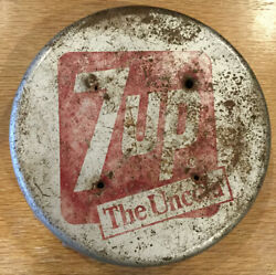 """7 Up 7up Bottle Cap Sign The Uncola Vintage Great Patina Solid 11"""" Pepsi Pepsico"""