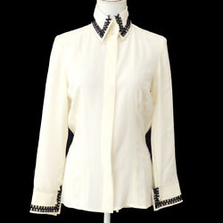 CHANEL 04A #36 Imitation Pearl Cuffs Long Sleeve Tops Shirt Ivory Silk Y04374