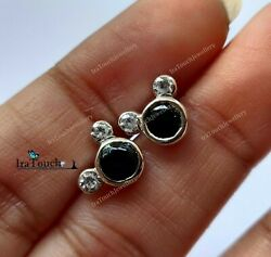 2.00 Ct Round Cut Black Diamond Mickey Mouse Stud Earrings 14k White Gold Over