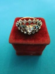 Antique Victorian Solid 18k Gold And Sterling Silver Rock Crystal Ring