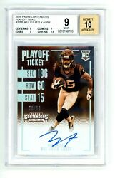 Will Fuller Rookie Rc Bgs 9 Auto 10 2016 Panini Contenders Playoff Ticket /99
