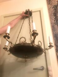 French Antique Brass Hanging Ceiling Hall Lamp