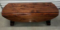 Ethan Allen Antiqued Pine Oval Drop Leaf Coffee Table 12-8100 212 Old Tavern
