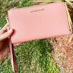 Michael Kors Jet Set Large Double Zip Wristlet Wallet Peach Saffiano Leather $68.00
