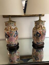 """Stunning Pair Hand Painted And Gilt Chinese Porcelain Lamps On Wood Bases 31.5"""""""