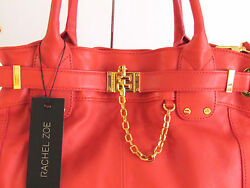 Women#x27;s Bags Handbags Designer Bags Leather Tote Large Rachel Zoe Coral Red $272.50