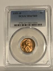 1951-d Lincoln Wheat Cent Pcgs Ms-67 Rd