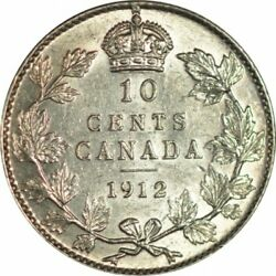 1912 Canada 10 Cents Silver Dime - Ch/gem Bu - Great Coloreye Appeal -d240ucqth