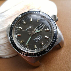Vintage Arnex Day-date 20 Atm Diver W/all Ss Submarine Case,as 1906,runs Strong