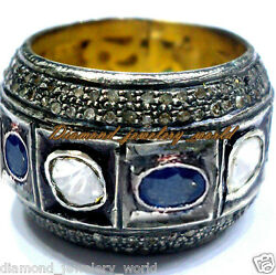 4.37cts Rose Antique Cut Diamond Sapphire Silver Vintage Eternity Ring Jewelry