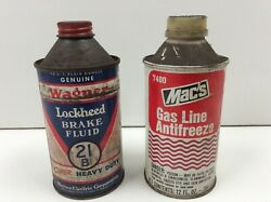 Vintage Wagner Lockheed Brake Fluid And Mac's Gas Line Antifreeze Conetop Cans